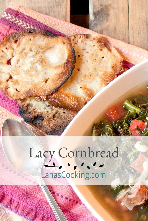 Lacy cornbread - a south Georgia classic - fried, crispy cornbread. Lacy and light as a feather. From @NevrEnoughThyme http://www.lanascooking.com/lacy-cornbread/