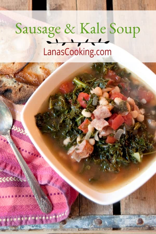 Sausage and kale soup - a hearty fall and winter soup featuring smoky sausage and kale. Serve with your favorite cornbread alongside. From @NevrEnoughThyme https://www.lanascooking.com/sausage-and-kale-soup/