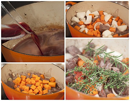 Adding the remaining ingredients to the Dutch oven.