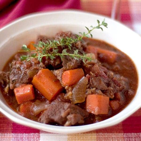 My Sunday Beef Stew is a very robust stew full of the flavors of red wine, garlic, thyme, and rosemary. Make it on the weekends when there's plenty of time. From @NevrEnoughThyme https://www.lanascooking.com/sunday-beef-stew/