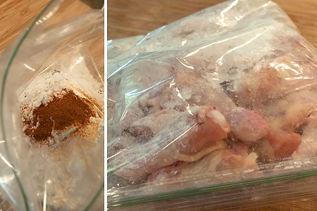Flour coating in a sealable bag (left); Chicken wings added to the bag (right).