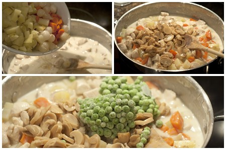 Adding final ingredients to Chicken Pot Pie