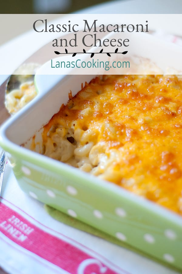 My classic, baked macaroni and cheese. This is warm, gooey, pure delicious comfort food for days that call for a good, warm hug from the oven. From @NevrEnoughThyme https://www.lanascooking.com/classic-macaroni-and-cheese/