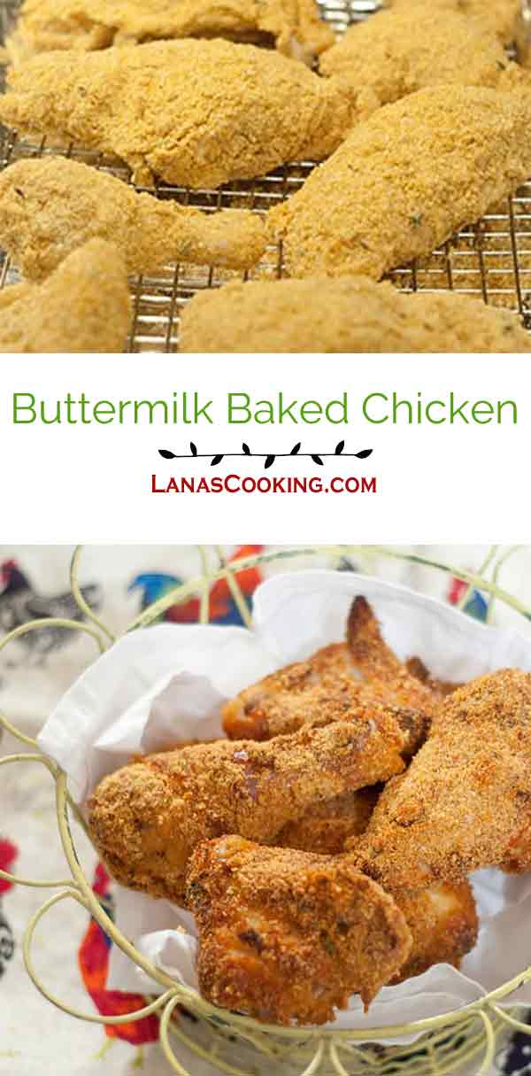 Buttermilk Baked Chicken - Chicken marinated in buttermilk and seasonings, coated with corn flake crumbs and Parmesan cheese and baked until crunchy. From @NevrEnoughThyme https://www.lanascooking.com/buttermilk-baked-chicken/