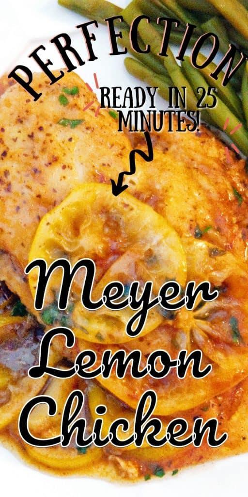 A serving of Meyer Lemon Chicken on a white dinner plate.