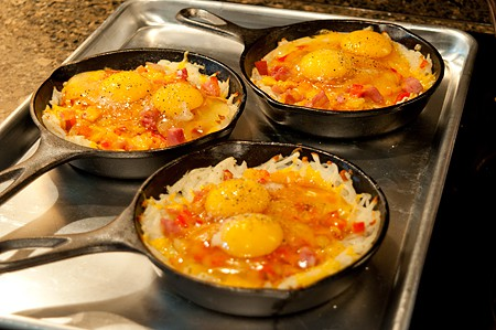 Add eggs to Hash Brown-Omelet Skillets