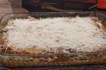 Lasagna ready for the oven