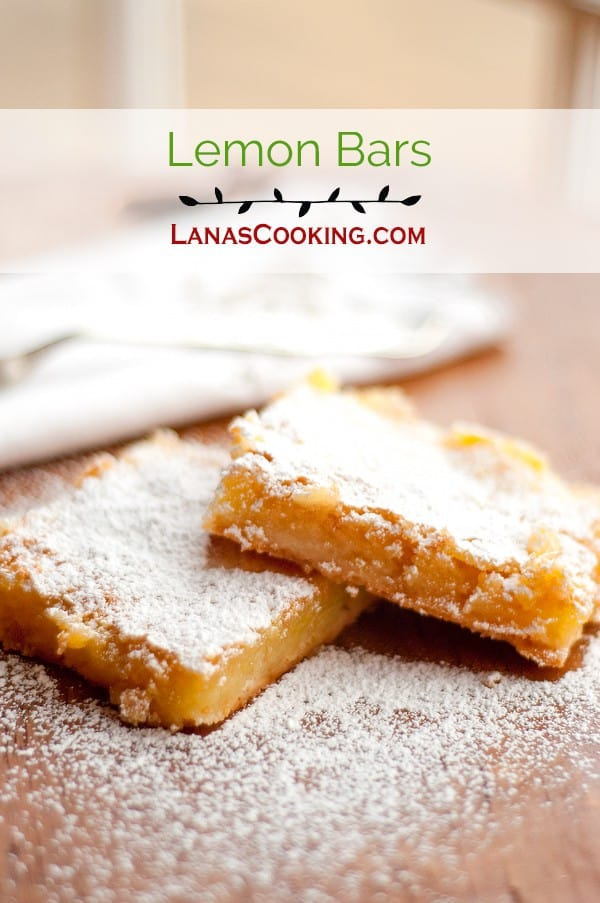 Rich and buttery Lemon Bars made with Meyer lemon juice and zest. A delicious afternoon treat with a cup of tea or coffee. From @NevrEnoughThyme https://www.lanascooking.com/lemon-bars/
