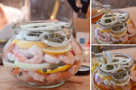 Pickled Shrimp layered in jar