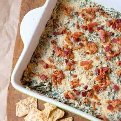 Turnip Green Dip - a warm, creamy mixture of cream cheese, bacon and turnip greens. Great for game day! From @NevrEnoughThyme https://www.lanascooking.com/turnip-green-dip