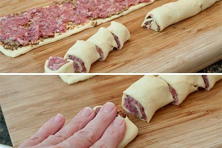 Cutting and shaping sausage swirls.