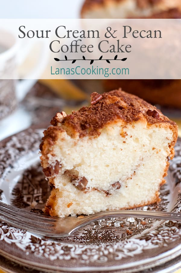 Sour Cream and Pecan Coffee Cake - A delicious, moist, sour cream and pecan coffee cake. Great for snack or breakfast with a lovely cup of coffee. From @NevrEnoughThyme https://www.lanascooking.com/sour-cream-pecan-coffee-cake/