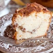Sour Cream and Pecan Coffee Cake - A delicious, moist, sour cream and pecan coffee cake. Great for snack or breakfast with a lovely cup of coffee. https://www.lanascooking.com/sour-cream-pecan-coffee-cake/