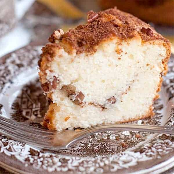 Sour Cream Pecan Coffee Cake - great for breakfast, snack, or dessert. From @NevrEnoughThyme http://www.lanascoking.com/sour-cream-pecan-coffee-cake