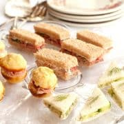 For a special occasion serve tea sandwiches. Three of my favorites are cucumber and butter, roast beef with horseradish, or cornbread muffin and ham. https://www.lanascooking.com/tea-sandwiches-three-ways/