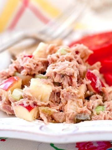 My slightly sweet, slightly savory version of Tuna Salad made with diced, crispy apple, and sweet pickle relish. Serve it with crackers on as a sandwich. From @NevrEnoughThyme https://www.lanascooking.com/tuna-salad/