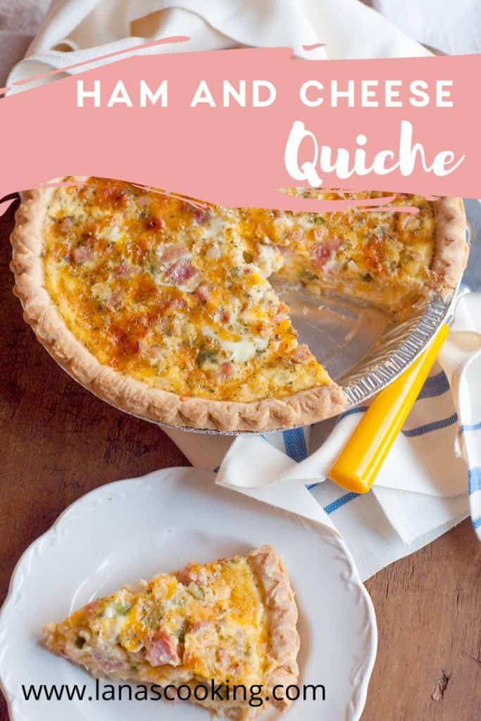 Ham and Cheese Quiche - a classic combination of eggs, ham, cheese, and veggies that is perfect for your lunch, brunch, or dinner. https://www.lanascooking.com/ham-and-cheese-quiche/