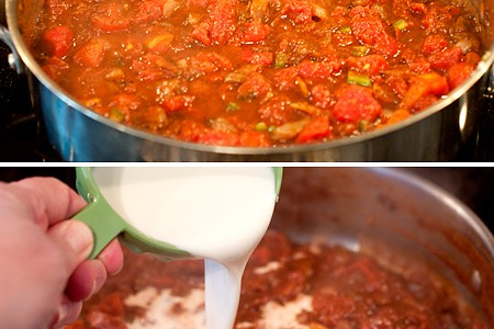 Making sauce in a skillet.