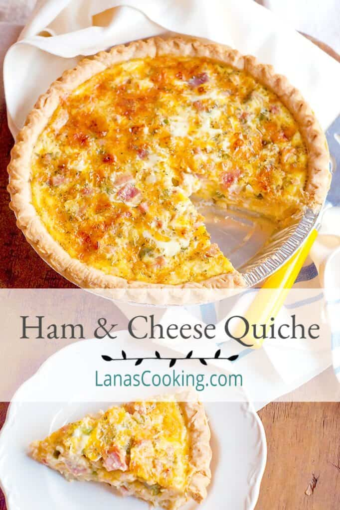 Ham and Cheese Quiche on a serving board with a slice on a plate.
