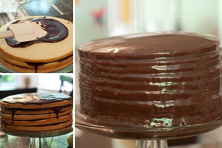 Assembling a Chocolate Little Layer Cake