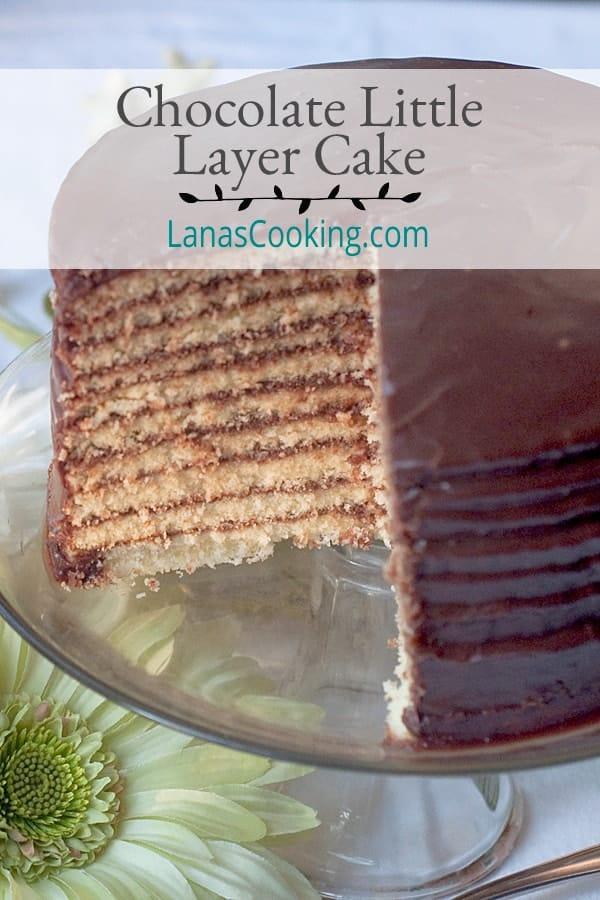 Heritage recipe for Chocolate Little Layer Cake, a regional specialty from southwest Georgia. Tiny yellow cake layers filled with boiled chocolate frosting. From @NevrEnoughThyme https://www.lanascooking.com/chocolate-little-layer-cake
