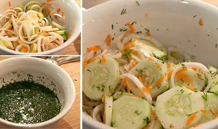 Photo collage showing the mixing of the salad