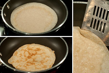 Cooking crepes for Strawberry Filled Whole Wheat Crepes