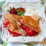 Strawberry Filled Whole Wheat Crepes