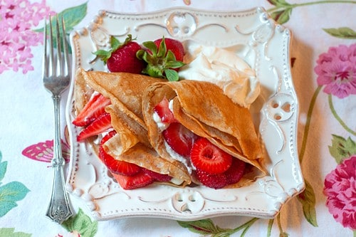 Strawberry Filled Whole Wheat Crepes #desserts #crepes #strawberries #wholewheat #sweets