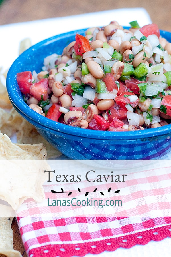 Texas caviar combines black-eyed peas, tomatoes, peppers, onions, and cilantro for a light yet substantial summer dip or salad. Serve with tortilla chips. From @NevrEnoughThyme https://www.lanascooking.com/texas-caviar/