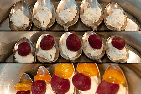 Assemble the pickled beet amuse bouche