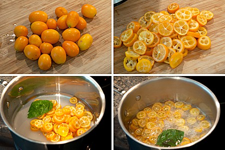 Preparing kumquats for Pickled Baby Beets with Herbed Goat Cheese and Kumquats
