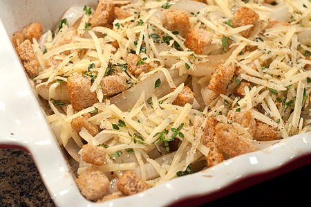 Add crouton mixture to Vidalia Onion Gratin
