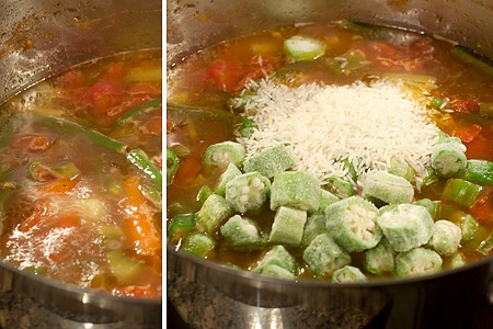 Add okra and rice to Creole Beef and Okra Soup