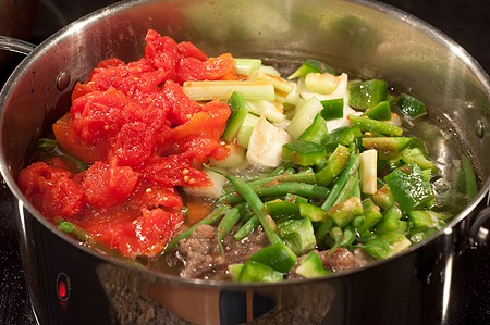 Add veggies to Creole Beef and Okra Soup
