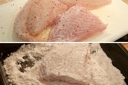 Prepping fish with seasoning and flour.
