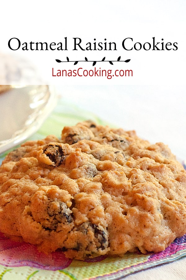 Big, soft, and chewy, these traditional oatmeal raisin cookies are wonderful with a glass of milk for a snack or as a light dessert. From @NevrEnoughThyme https://www.lanascooking.com/oatmeal-raisin-cookies/