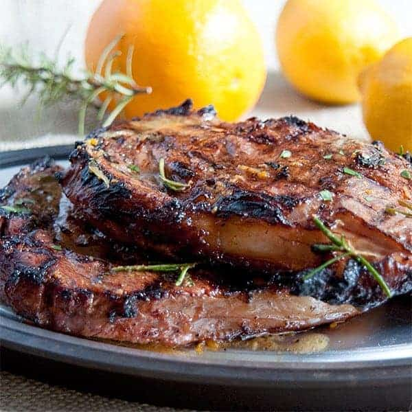 Citrus marinated ribeye steaks - marinated in olive oil, orange, lemon, rosemary, and garlic. From @NevrEnoughThyme http://www.lanascooking.com/citrus-marinated-ribeye/