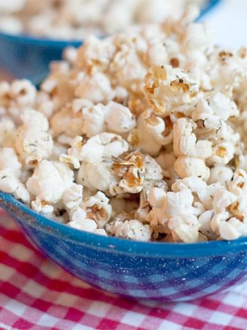 Offer your guests a bowl of Garlic Butter and Herb Popcorn. It's popcorn coated with garlic infused butter and tossed with herbs and celery seed. https://www.lanascooking.com/garlic-butter-and-herb-popcorn/
