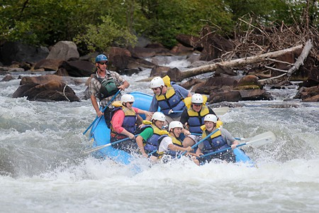White Water Rafting - Holding on!