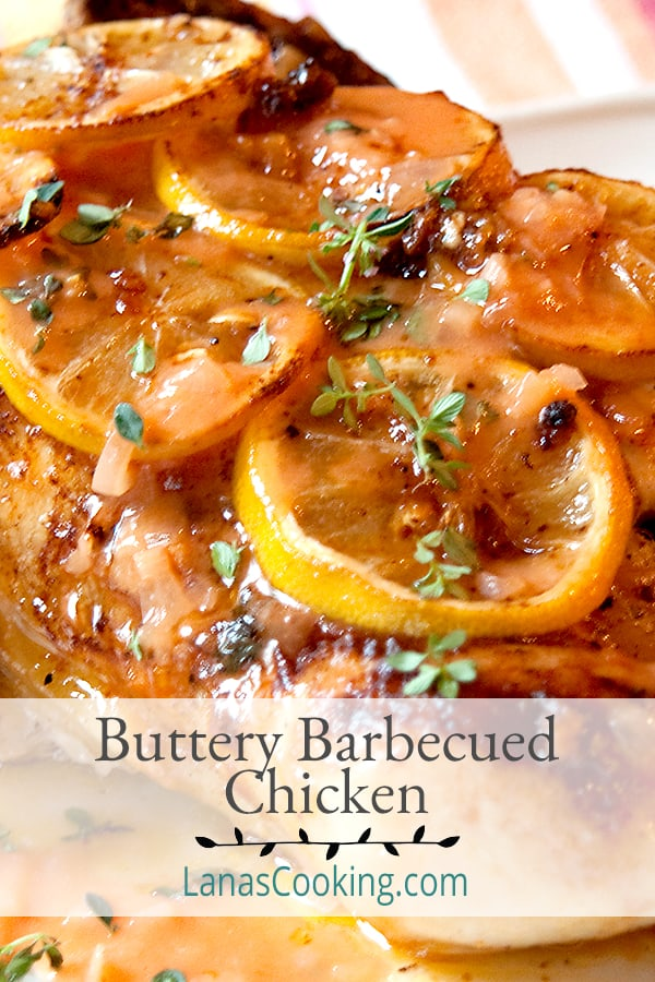 Buttery Barbecued Chicken - oven baked chicken with a rich, tangy, and buttery barbecue sauce. Good for cooler weather since no outdoor cooking is required. https://www.lanascooking.com/buttery-barbecued-chicken/