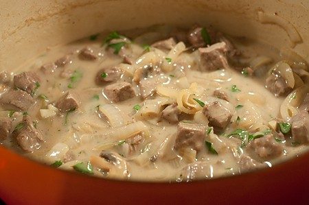 Add final ingredients for Creamy Steak and Mushrooms