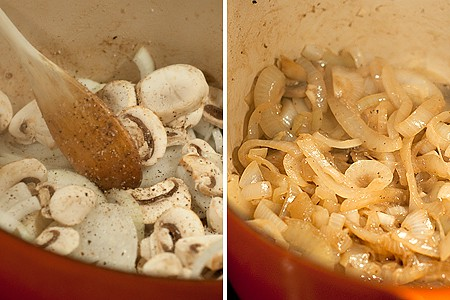 Onions and mushrooms cooking for Creamy Steak and Mushrooms