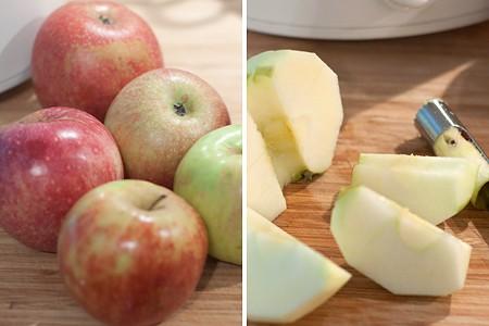 Prepping apples for homemade applesauce