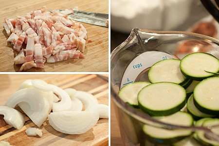 Prepping ingredients for Baked Zucchini with Bacon