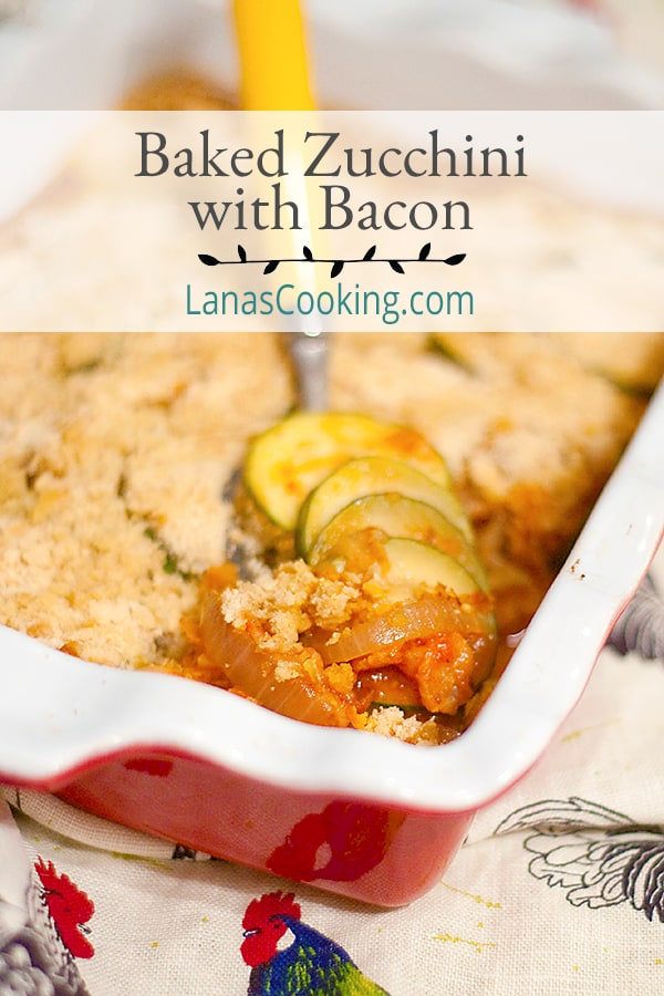 This Baked Zucchini with Bacon is a great way to use the abundant supply of summer zucchini - in a casserole with bacon, tomato sauce, and onion. https://www.lanascooking.com/baked-zucchini-with-bacon/