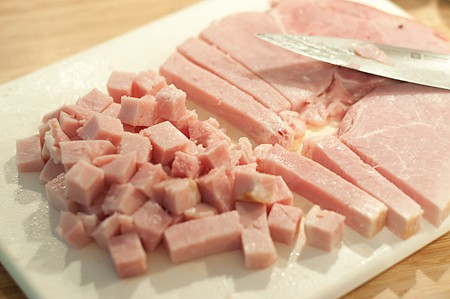 Cubed ham for black bean and ham soup