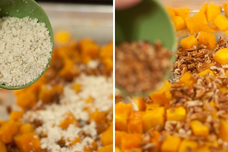 Add pecans and cheese to butternut squash