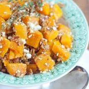 Roasted Butternut Squash with Pecans and Blue Cheese in a serving bowl.