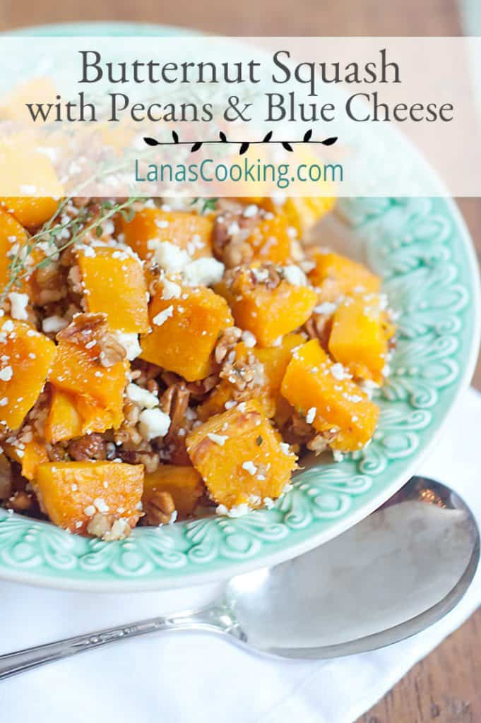 Roasted Butternut Squash with Pecans and Blue Cheese in a serving bowl. Text overlay for pinning.